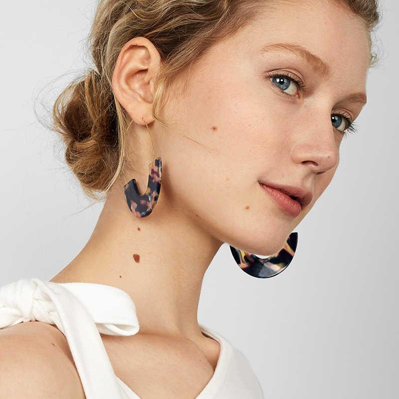 Dvacaman 2019 Fashion Leopard Grain Statement Earrings Semicircle Resin Drop Earring Big Maxi Earrings ZA Jewelry Wholesale Gift