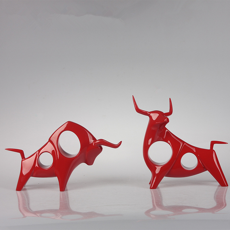 2Pcs set Creative Black and White Cow Statue Abstract Geometric Red Resin Bull OX Sculpture Home