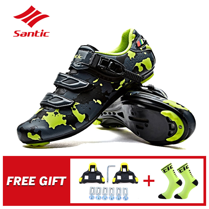 Santic Men Road Cycling Shoes Profession Road Bike Auto locking Shoes PU Breathable Outdoor Riding Athletic
