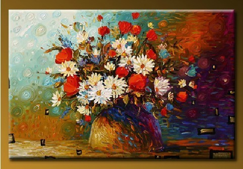 Home Decor Color Hand Painted Flower Vase Oil Painting On Canvas