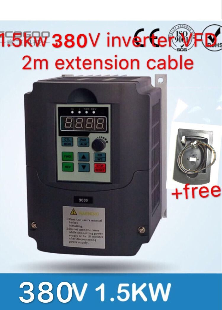 1.5kw 380V Variable Frequency Drive VFD Inverter 3.7A Input 3 phase&Extension cable control panel box1.5kw 380V Variable Frequency Drive VFD Inverter 3.7A Input 3 phase&Extension cable control panel box