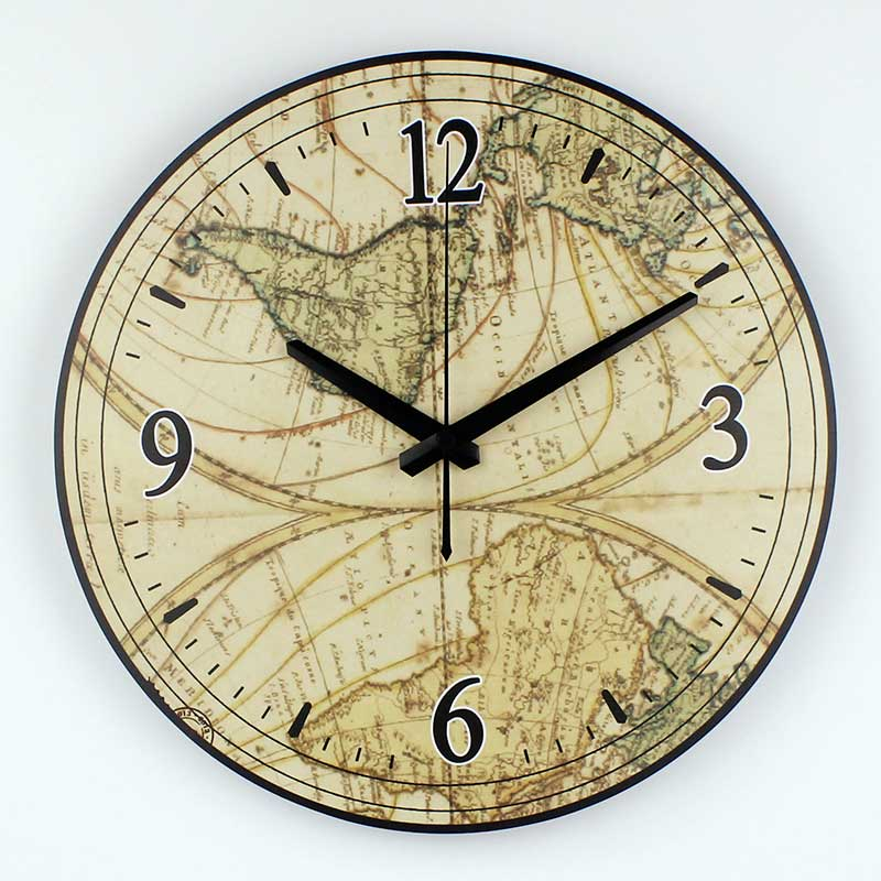 Decorative Wall Clocks For Home Office : World map large decorative wall clock modern design