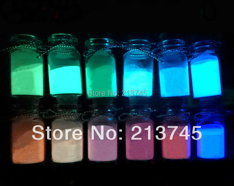 Free ship!!!Fashion Dust LUMINOUS 120grams/lot mixed color LUMINOUS powder for DIY glass bottle GLOWS IN DARK