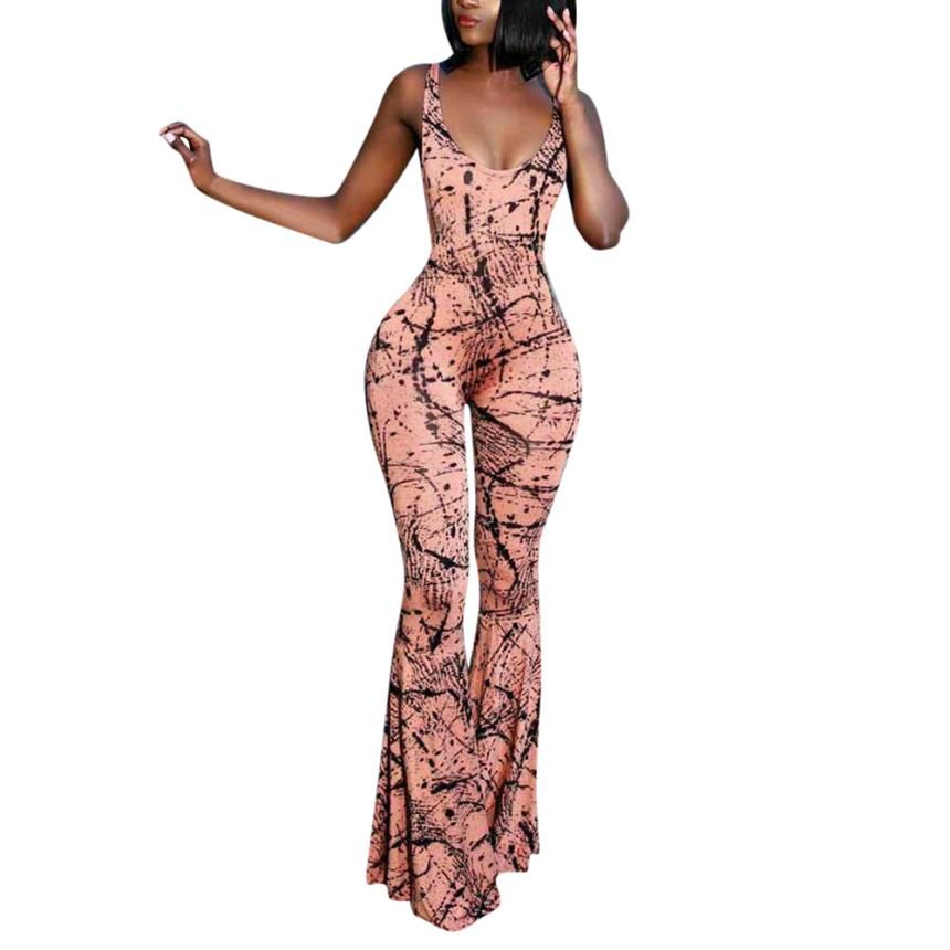 Women Sexy Backless Indie Fork Printed Halter Strapless Wide-Legged Jumpsuit rompers bianco pizzo maniche lunghe