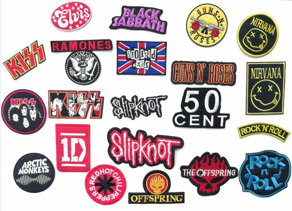 Band music iron on patches logo Embroidered badge biker vest applique coat clothing accessoriy wholesale