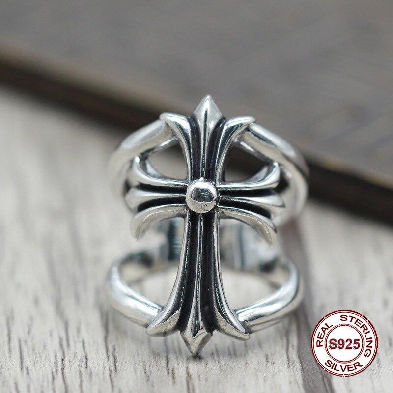 S925 in argento puro anello di personalità degli uomini Che Ristabilisce I sensi antichi punk stile classico anello di una prepotente croce Regalo per il tuo amante