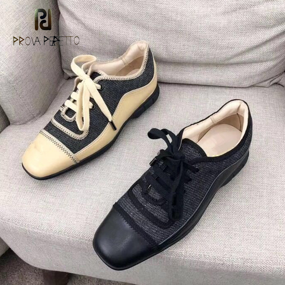 Prova Perfetto fashion new cow leather+canvas vintage square toe women casual shoe lace up comfortable low heel chic shoes women цена