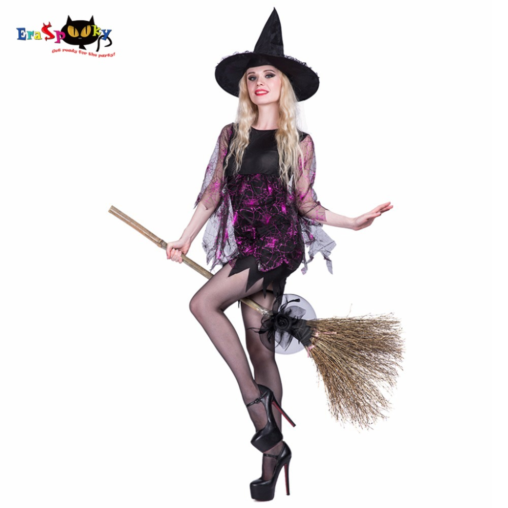 2018 Vampire Shining Spider Witch Costumes with Hat Female Party Cosplay Lace Fancy Dress Halloween Costumes For Women Slim Fit