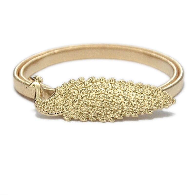 Metal Belts For Women Golden Peacock Luxury Brand Waistband Elastic Belt For Dresses Fashion Narrow Stretch Gold Waist Belt