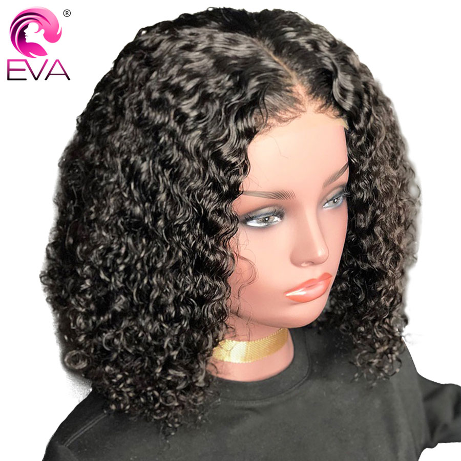 Eva Hair Short Curly Full Lace Human Hair Wigs Pre Plucked With Baby Hair Brazilian Remy