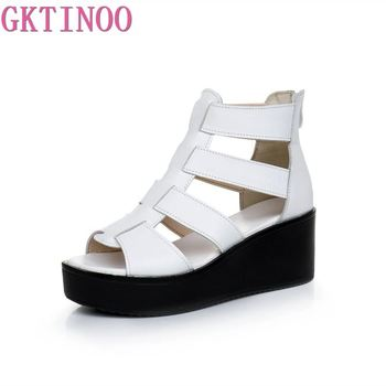 GKTINOO Women Sandals Wedges Heels Genuine Leather Peep Toe Summer Fashion Female Gladiator Platform Shoes Woman - discount item  53% OFF Women's Shoes