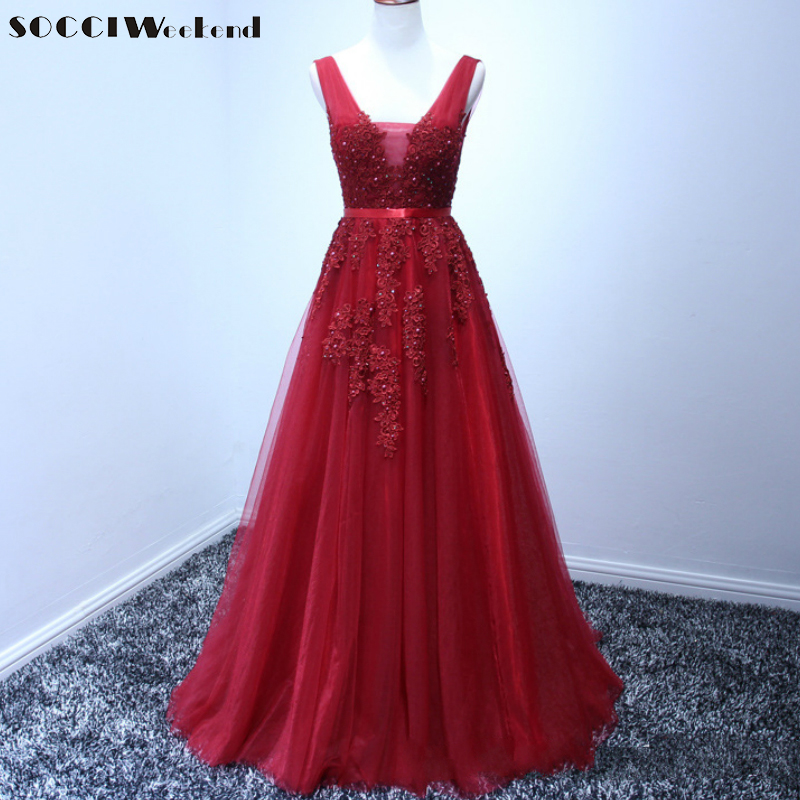 SOCCI Wine Red V-Neck Tulle Lace Long Evening Dresses Pearls Beading Backless Vestido De Festa Longo Formal Wedding Party Gowns