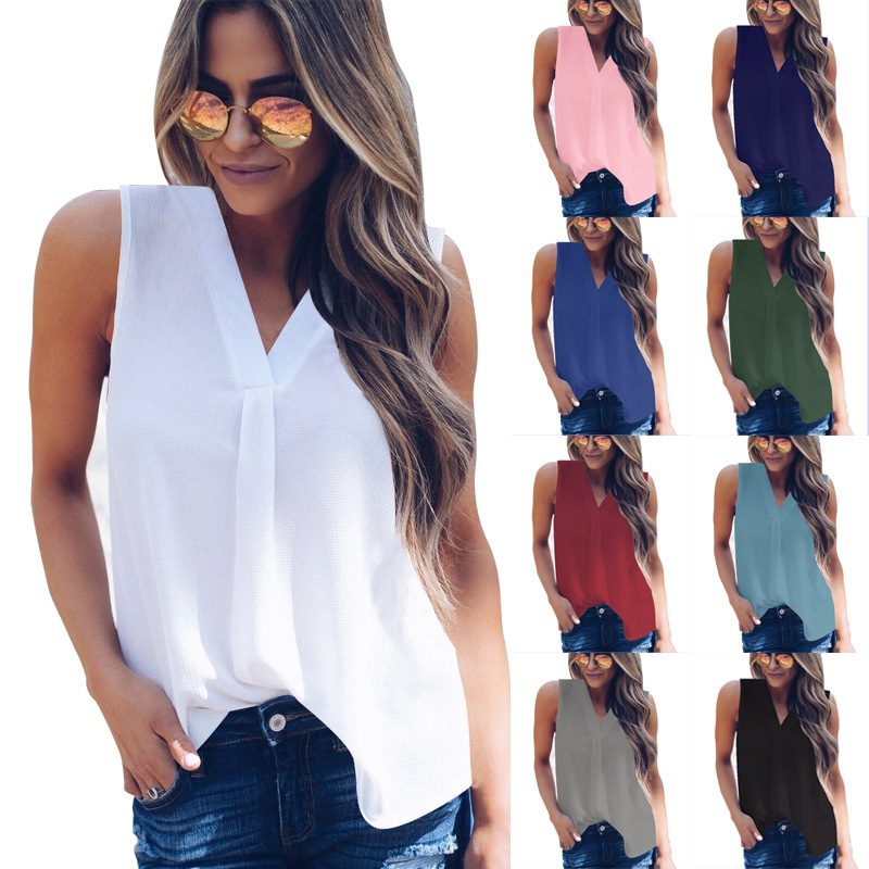 2019 New Summer Women   Blouse   Tops Loose Sleeveless   Shirts   Casual Solid Chiffon   Blouses   Plus Size Female   Shirts   Vest Women 5XL