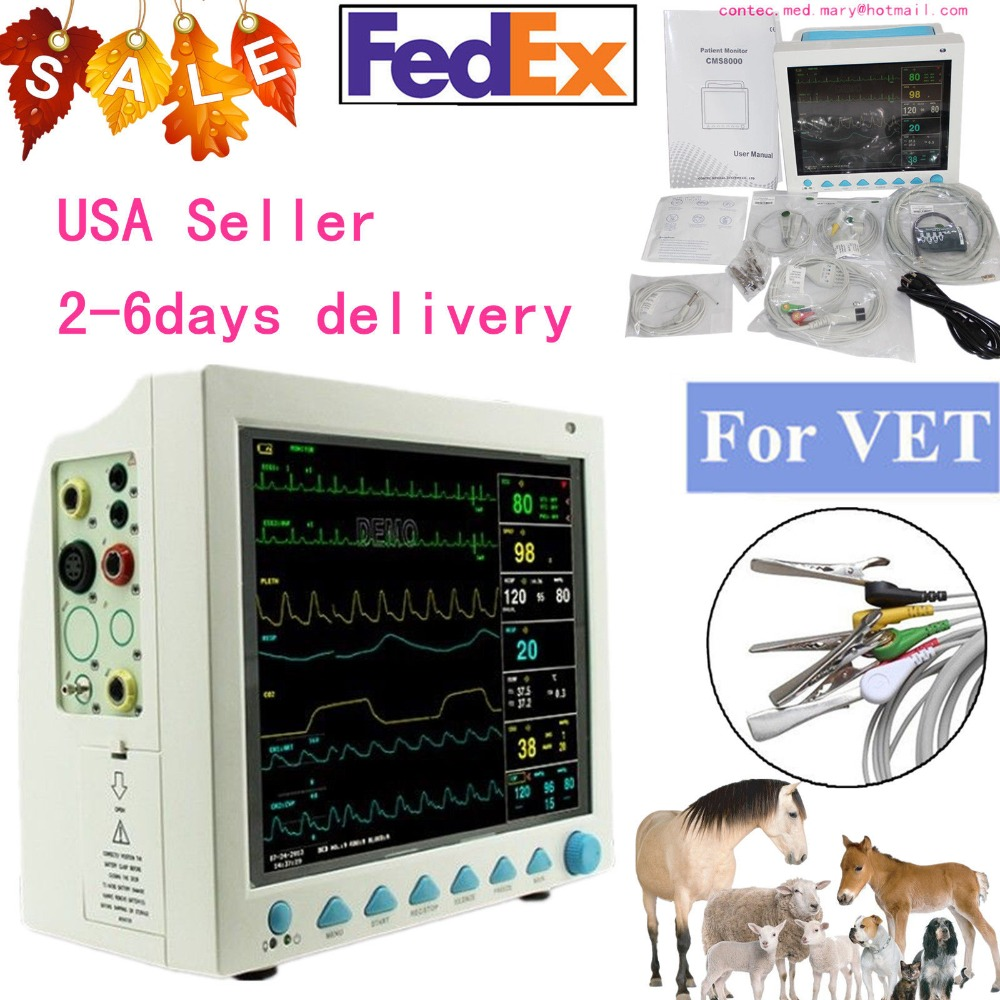 Veterinary Patient Monitor Vital Signs NIBP SPO2 RESP TEMP PR Printer,CE FDA Multi-parameter Veterinary Patient Monitor for Anim abpm50 ce fda approved 24 hours patient monitor ambulatory automatic blood pressure nibp holter with usb cable