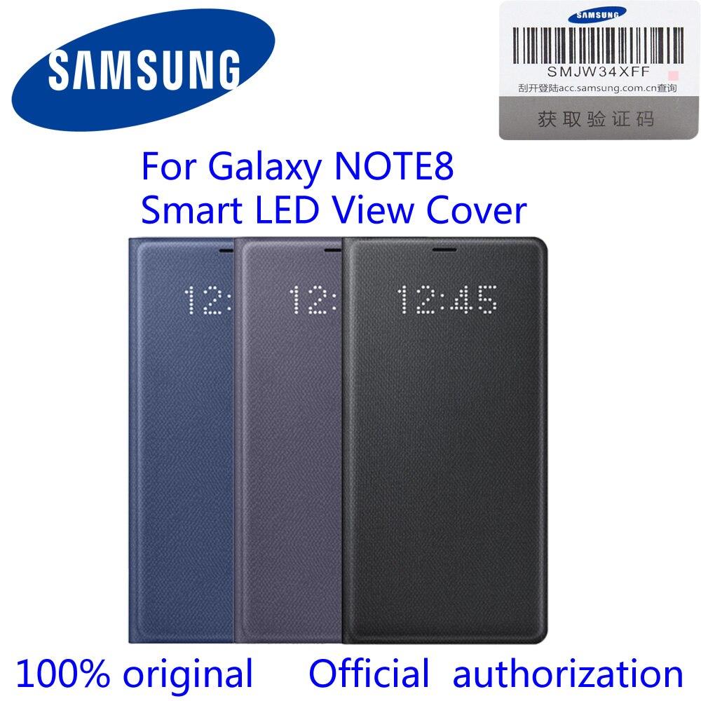 100% Officielle Originale Samsung Galaxy Note8 LED View Étui Portefeuille N950F EF-NN950P n8 led voir couverture Noir/Bleu Profond/orchidée Gris