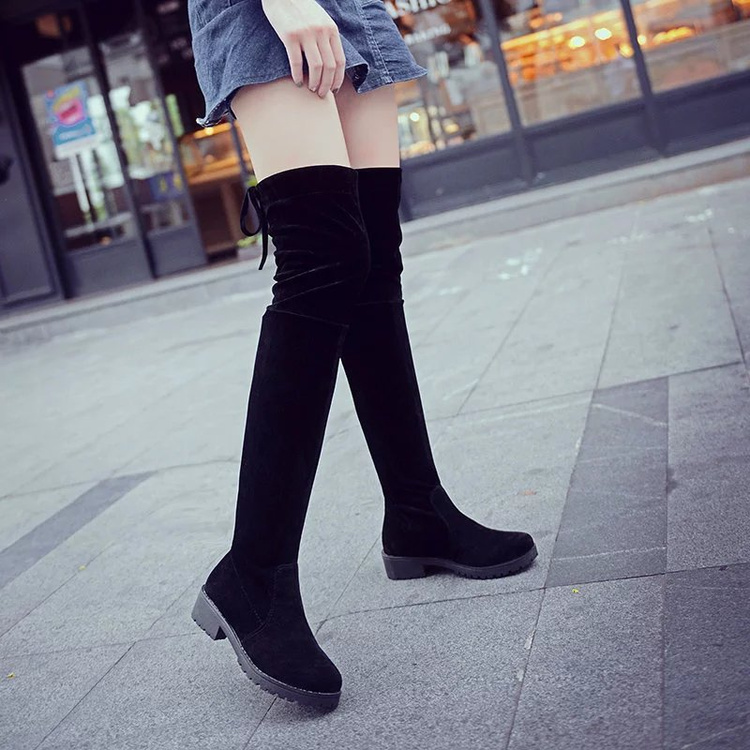 FREE SHIPPING! Women Shoes Over The Knee Thigh High Black Boots