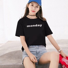 New Harajuku Letter Printed  Casual Tee Tops O-Neck Loose Women T-shir