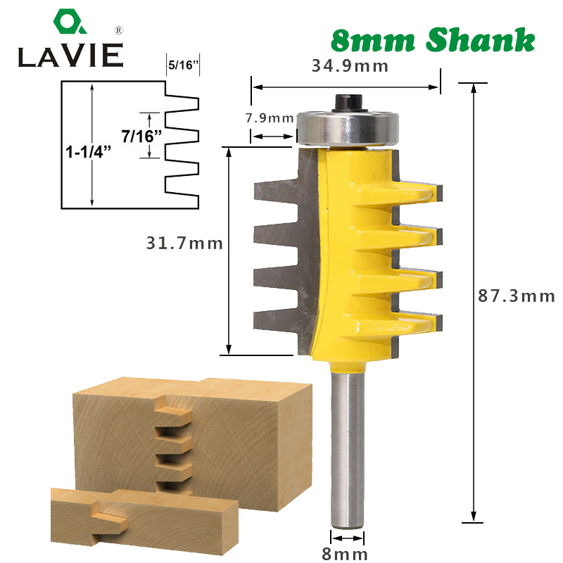 LA VIE 8mm Shank Finger Joint Glue Router Bit Milling Cutter Tenon knife Cone Tenon Wood Milling Machine Power Tools MC02003 hq 1pcs rct17a 16 38 1 50 8mm ced cel 12 7mm shank wood cutter knife cnc router bit engraving machine milling knives