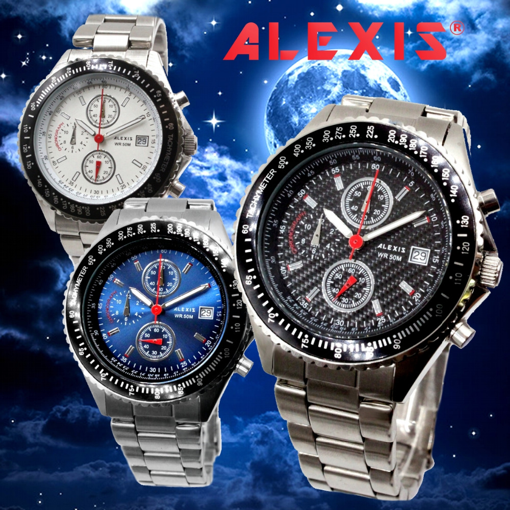 Alexis Miyota 0S10 Chronograph Fashion Men Analog Quartz Round Watch WIth Date Stainless Steel Band Water Resistant fashion tiger shape 10cm width wacky tie for men