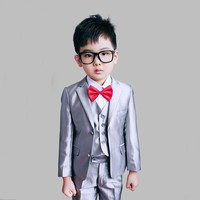 England Style Man Child White Boy Suit Tuxedos Boys Formal Suits Blazer+Pants+Vest 4 12Y Boys Formal Suits For Weddings KS 1620