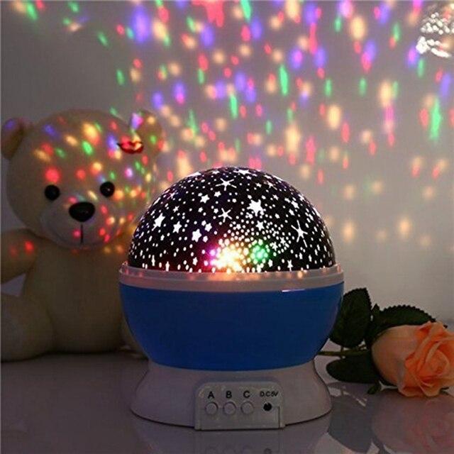 Beautiful Children Kids Baby Sleep Lighting Romantic Rotating Spin Night Light  Projector Sky Star Master USB Lamp Design