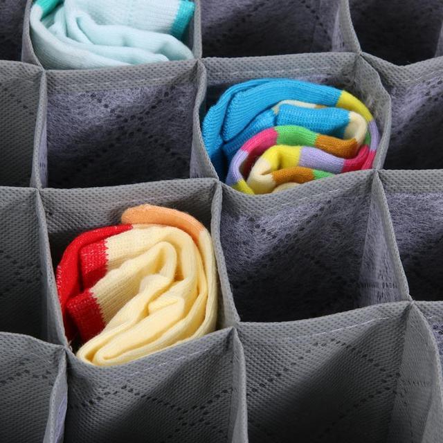 30 Cell Foldable Drawer Organizer Underwear Bra Scarfs Socks Organizer Bamboo Box Bamboo Charcoal Clothes Storage Box 3