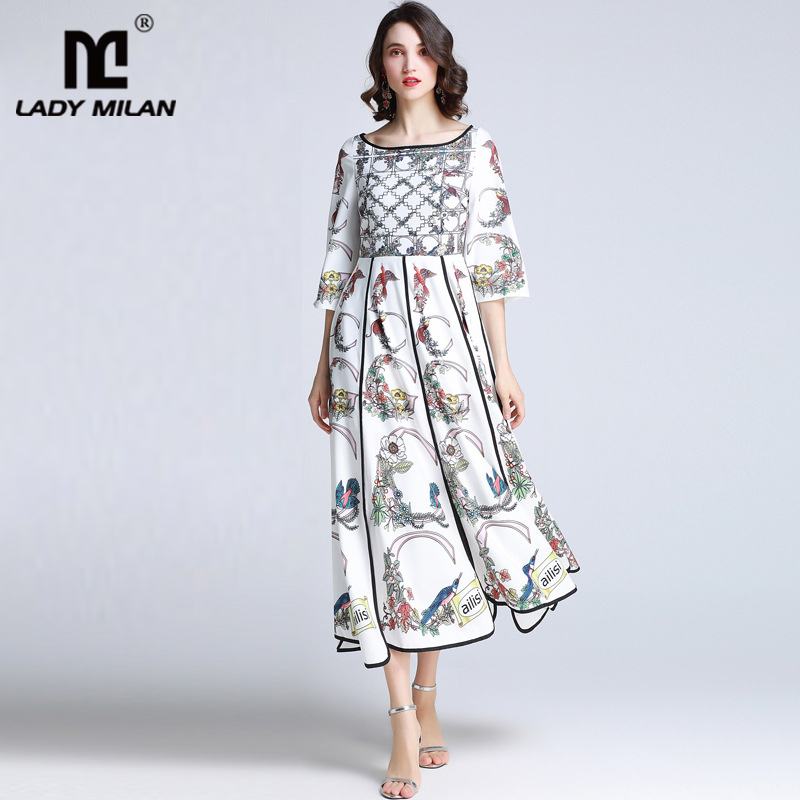 Lady Milan Women s 2019 Runway Dresses O Neck 3 4 Flare Sleeves Printed Casual Fashion