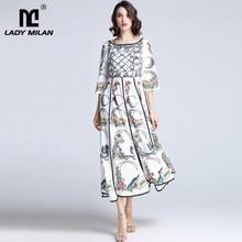 Wanita Milan Wanita Berjaga-jaga 2019 Landasan Pacu Gaun O Leher 3/4 Lengan Flare Kasual Fashion Musim Panas Gaun