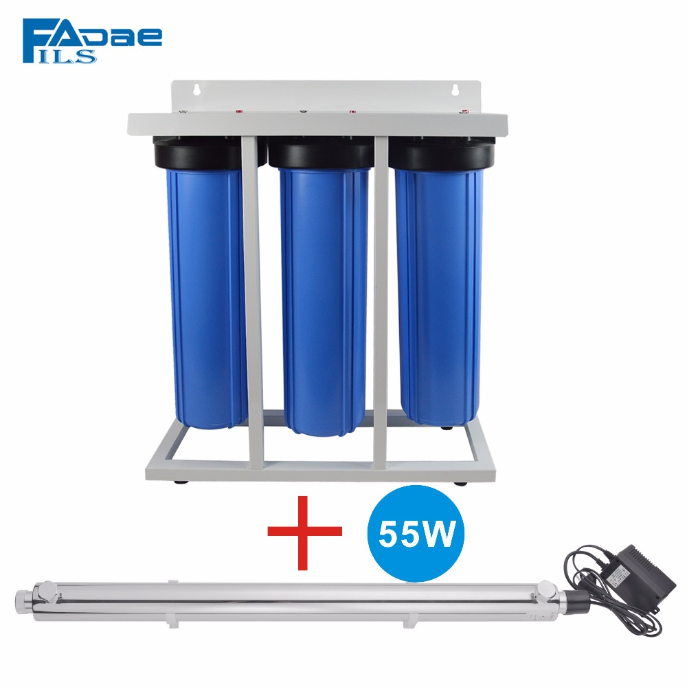 Premium Quality! 3-Stage Whole House System with 55W UV Ultraviolet Sterilizer 12 GPM for Sand, Particles, dirt, odor& Bacteria