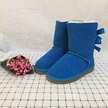 Australian style Ugs new color winter cowhide boots girls snow boots cute bow back waterproof children EU21-35 brand Ivg