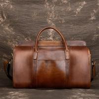 Luxury Vintage Natural Genuine Leather Men's Travel Bags Retro Cowskin Handbags Short Casual Business Trip Travel Bag