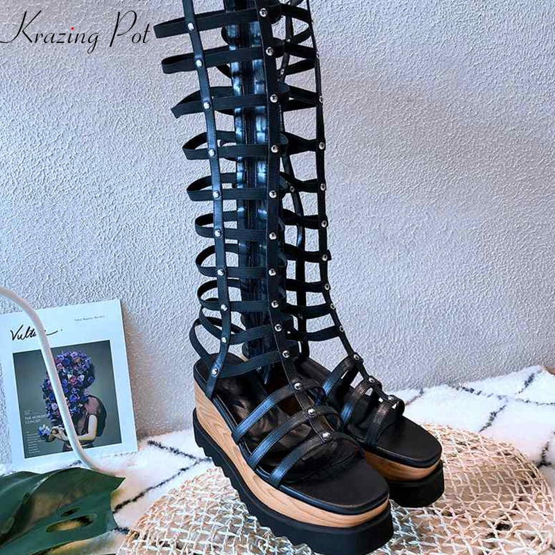 Krazing Pot 2018 high street fashion punk style gladiator rivets decoration solid thick bottom runway peep toe summer boots L28 krazing pot 2018 fashion full grain leather solid round toe rivets decoration thigh high boots streetwear riding knee boots l1f3