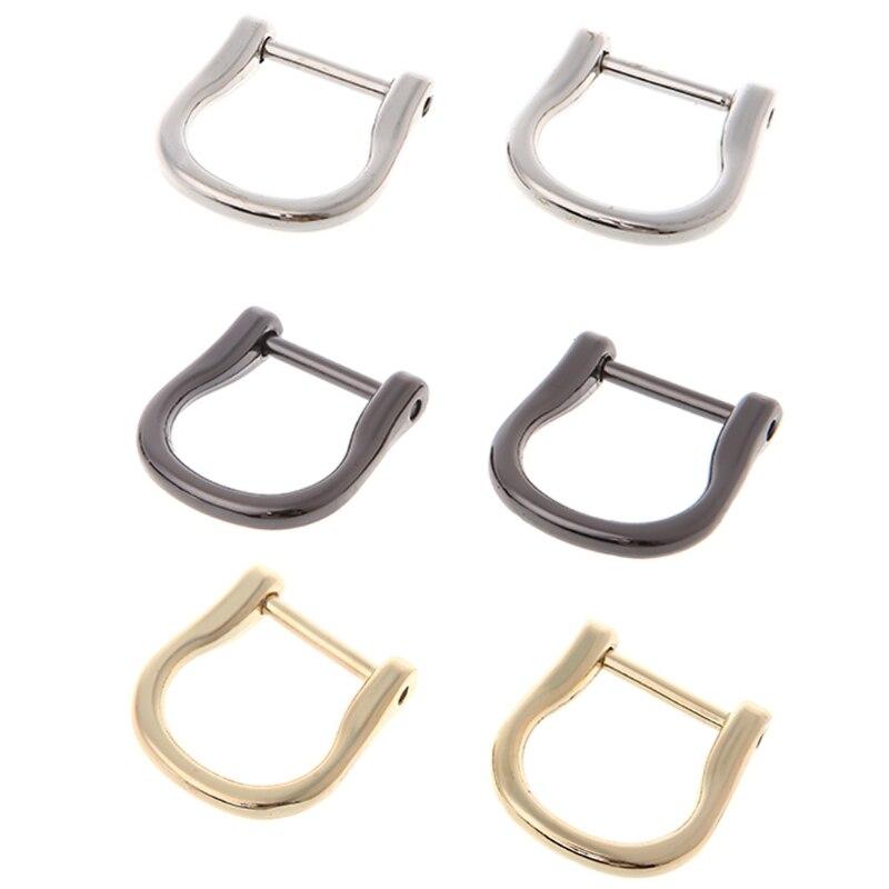 2PCS 1.8cm Screw Dee D Ring Buckle Clasp DIY Leather Handbag Strap Belt Luggage Craft
