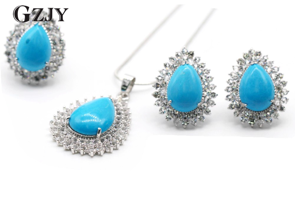 Gzjy Vintage Jewelry Set White Gold Color Blue Stone