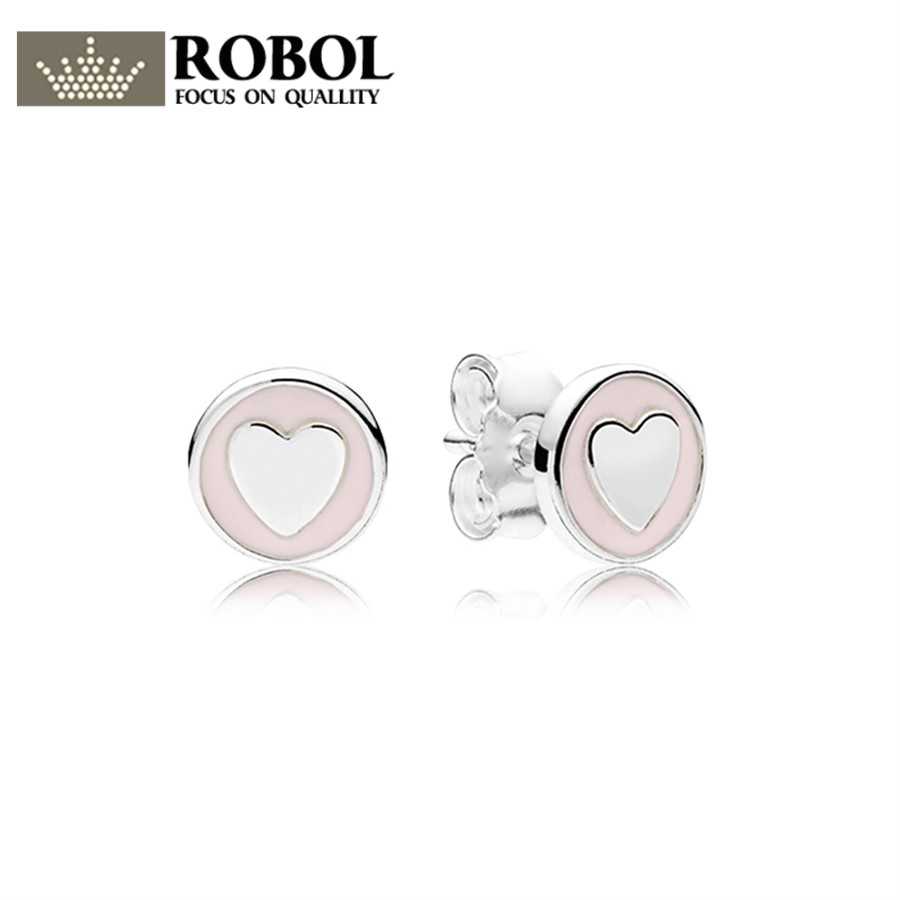 ROBOL100% 925 Sterling Silver Brand New 1:1 Genuine Glamour Sweet Declaration Stud Earrings Pink Original Women Wedding Earring