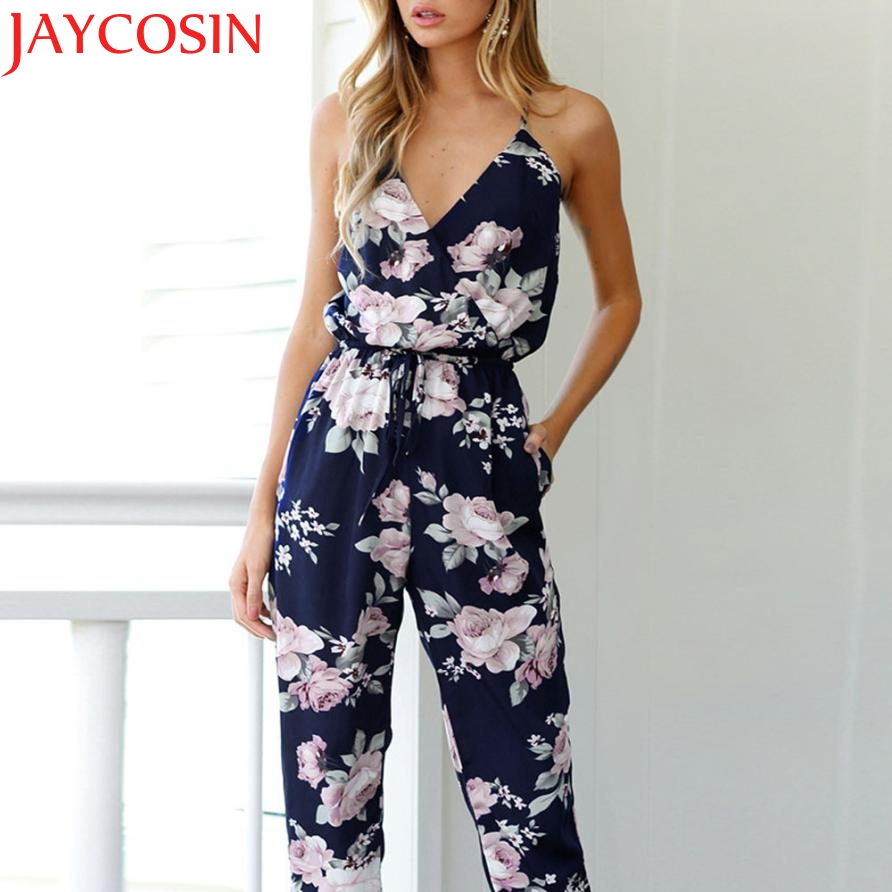 JAYCOSIN Future's Store 2017 Women Backless Jumpsuit Sleeveless V-Neck Floral Printed Playsuit Party Trousers J626