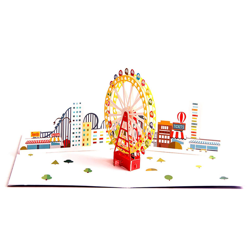Details About Tarjetas De Invitación Impresión Colorida Ferris Rueda De Papel Festival