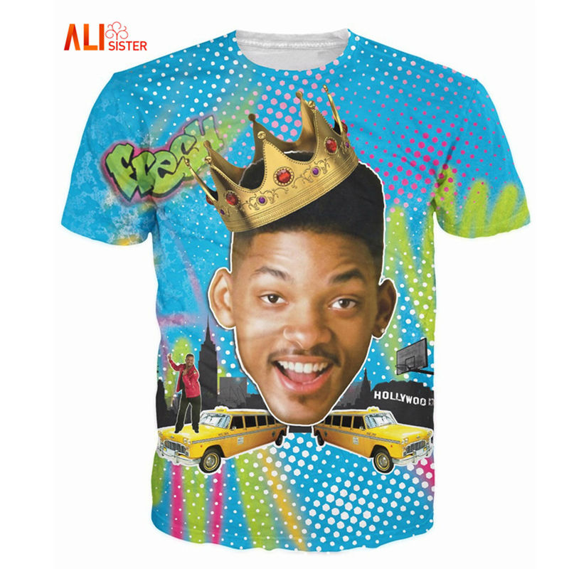 Alisister Summer Style So Fresh Will Smith <font><b>T</b></font>-<font><b>Shirt</b></font> <font><b>Sexy</b></font> Tee Fresh Prince Of Bel Air <font><b>3d</b></font> <font><b>T</b></font> <font><b>Shirt</b></font> Basic Tshirt For Women <font><b>Men</b></font> Tops image