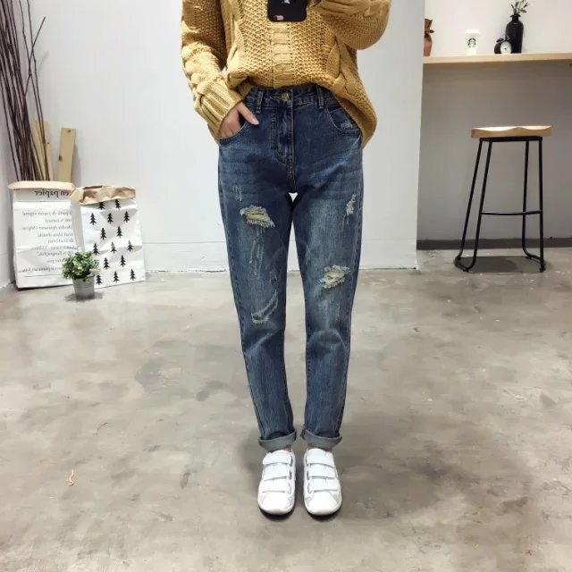ФОТО autumn 2016 new women's fashion girl all-match wash old worn-out jeans pants female leisure pants