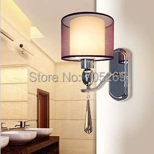 Free Shipping Modern Crystal Wall Lamp Bedside lamps Reading Lights   Fabric Lampshade Sconces For living bedroom lighting e14 black crystal wall lamp light black silk fabric lampshade crystal wall lighting creatie crystal wall lamp study lamp