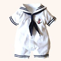 2017 Newborn Baby Clothes White Navy Sailor Uniforms Summer Baby Rompers Short Sleeve One Pieces Jumpsuit