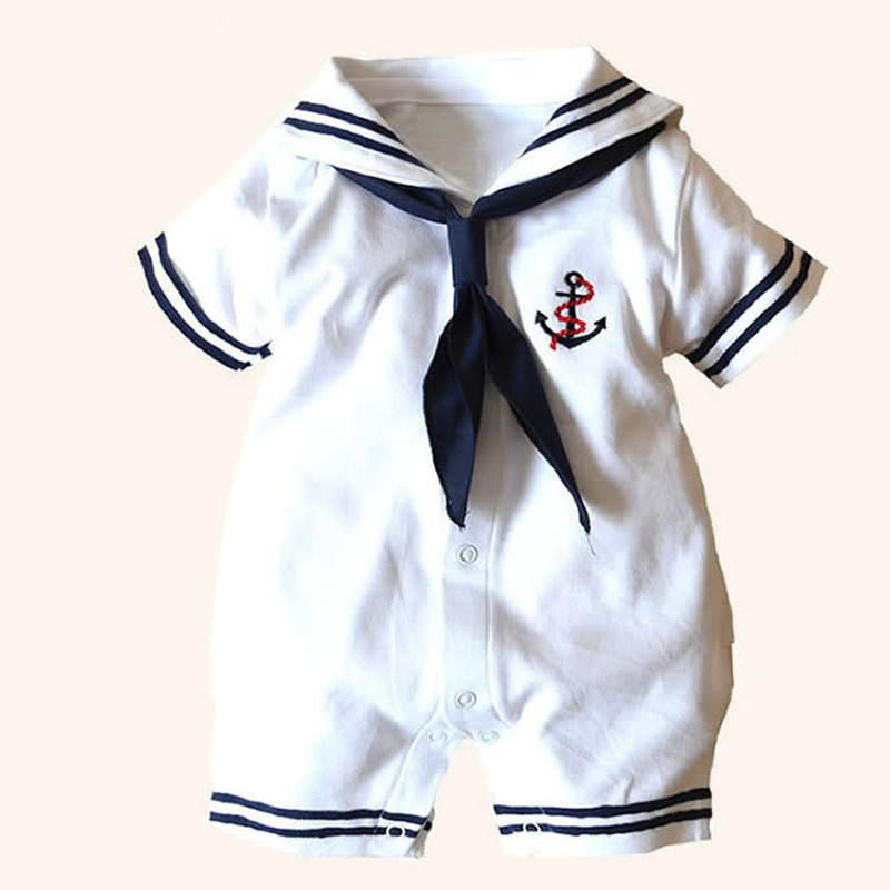 2018 Summer Newborn Baby Clothes White Navy Sailor Uniforms Baby Rompers Short Sleeve One Pieces Jumpsuit