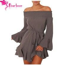 Dear Lover Для женщин осень 2017 стильная женская обувь с открытыми плечами Flare с длинным рукавом Drop HEM плиссированные мини-платье Vestidos Mujer осень LC220116