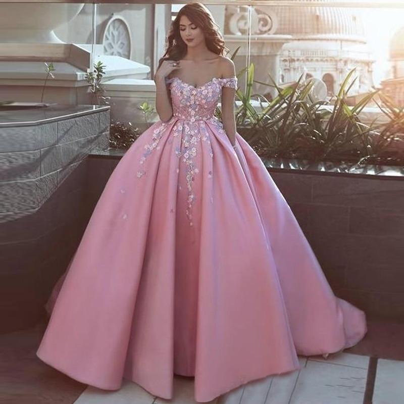2019 épaule dénudée longue robe de bal avec appliqué 3D fleurs rose robe de bal robes de soirée formelles tenue de soirée personnalisé Vestido Long