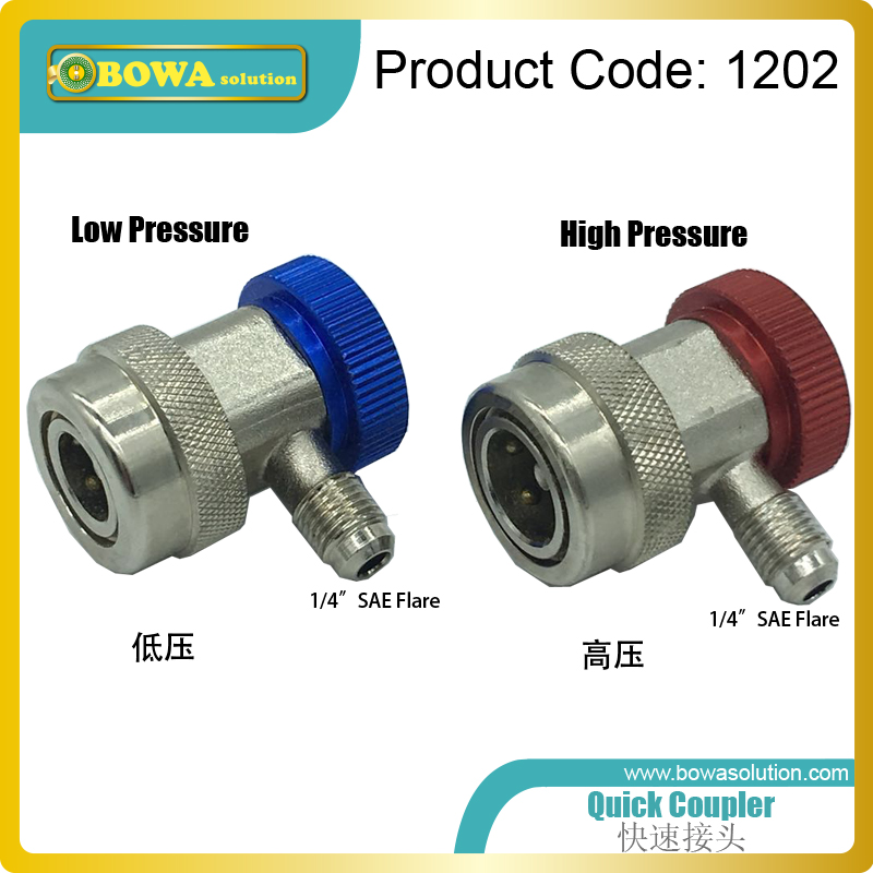 High quality quick coupler with 1/4 SAE flare connector for kinds of refrigeration equipments, auto air conditioner & heat pump