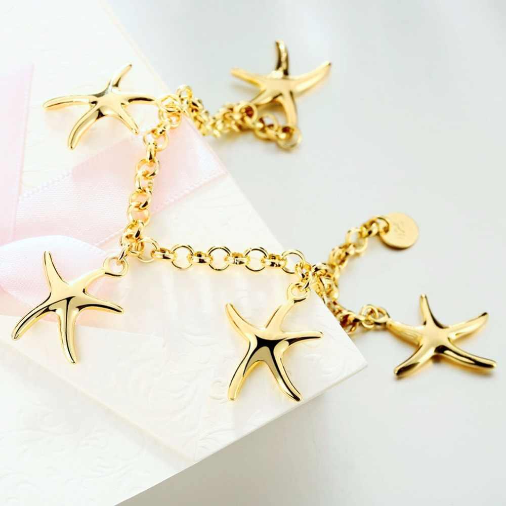 Moda Jóias 585 Charme Cor de Ouro das mulheres de Cinco Estrelas Do Mar Pingente Pulseiras Bangle Pulseiras