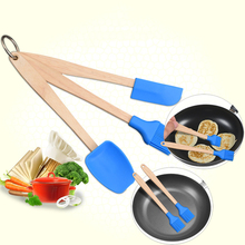 3PCS Silicone Spatula Spoon Brush Set Cooking Utensil Tool Kit Heat Resistant Kitchen Supplies
