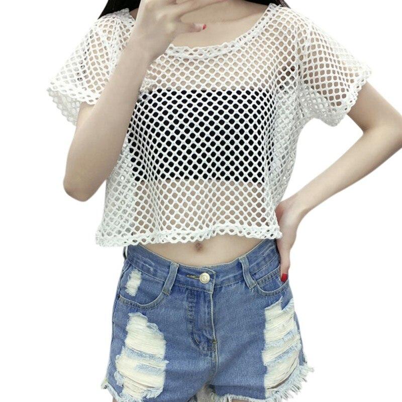 Fashion crop top fishnet shirt women short sleeve mesh for Women s fishing t shirts