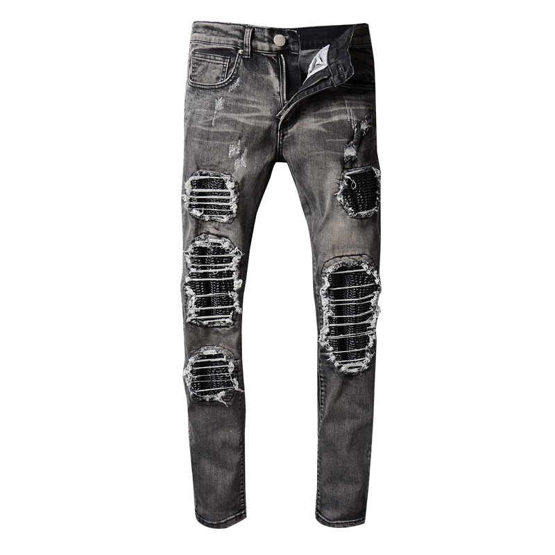 Hi-Q Brand ripped Jeans  Straight Denim Jeans Men Plus men Distressed slim famous brand designer biker hip hop swag black 2017 fashion patch jeans men slim straight denim jeans ripped trousers new famous brand biker jeans logo mens zipper jeans 604