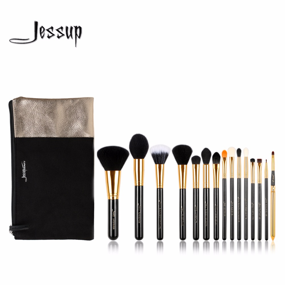 2017 jessup brushes  15pcs Beauty Makeup Brushes Set Brush Tool Black and Silver Cosmetics Bags T093 & CB002